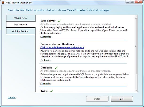 Web Platform Installer 2 0 Walkthrough | Microsoft Docs