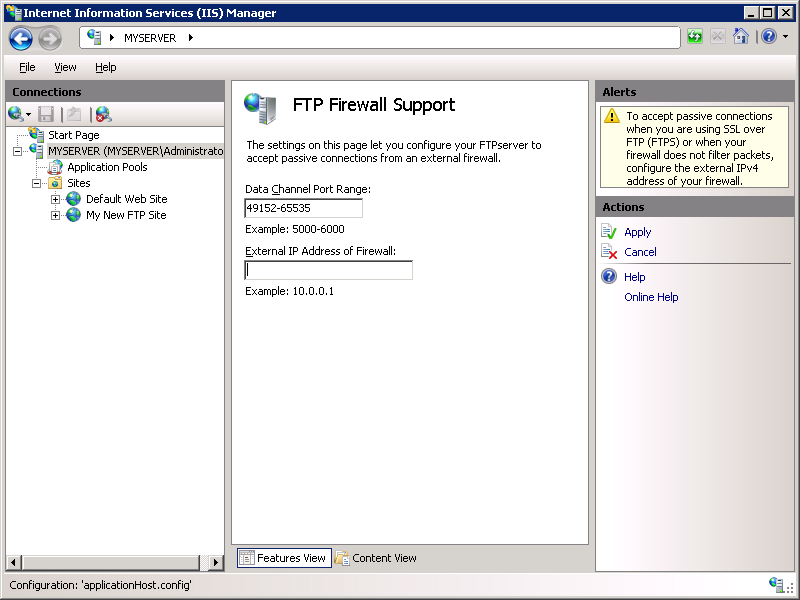 Configuring FTP Firewall Settings in IIS 7 | Microsoft Docs