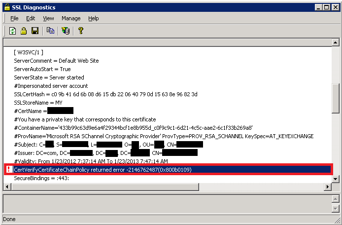 Troubleshooting SSL related issues (Server Certificate