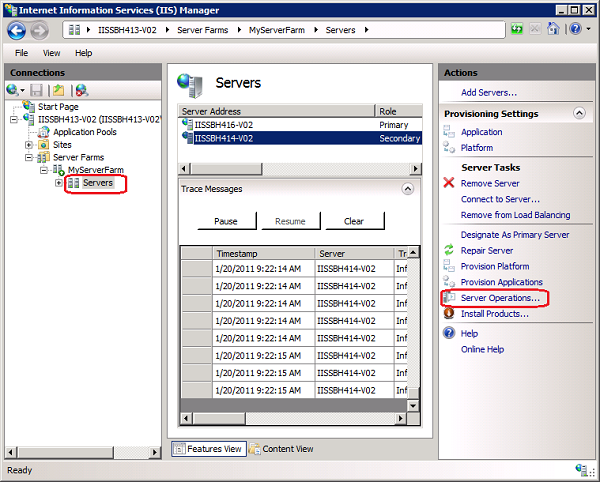 Running Server Operations Using the Web Farm Framework 2 0