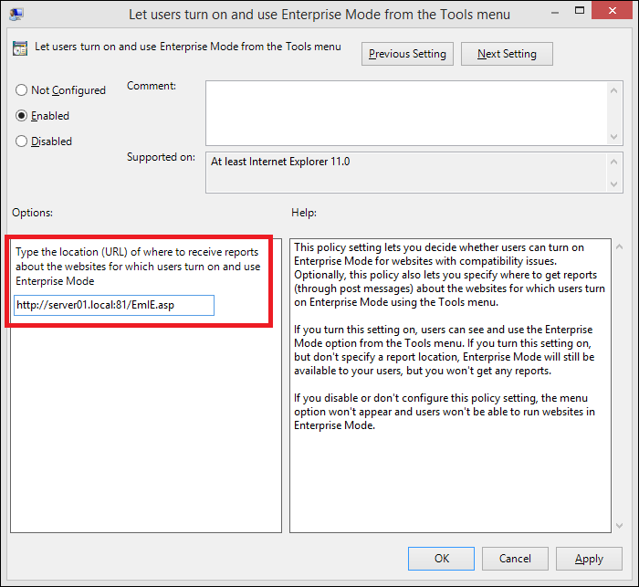 group policy to turn on enterprise mode