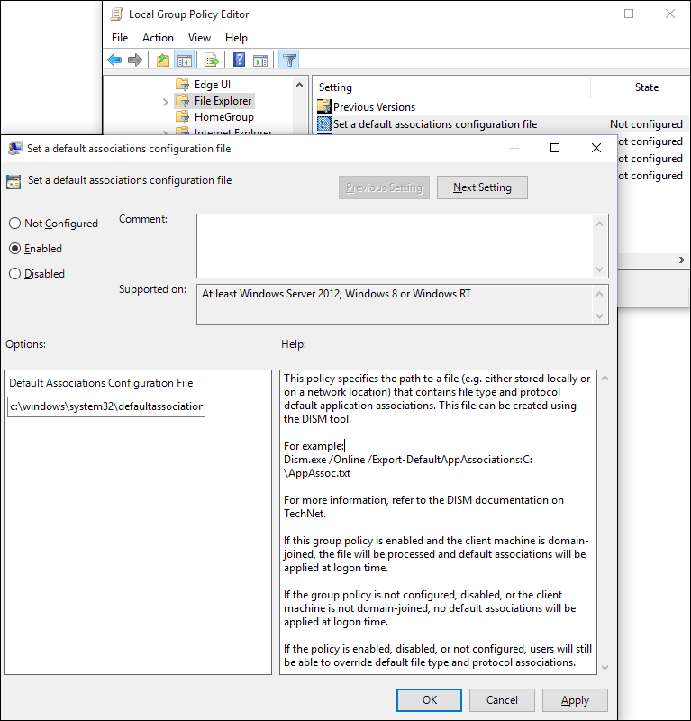 set default associations group policy setting