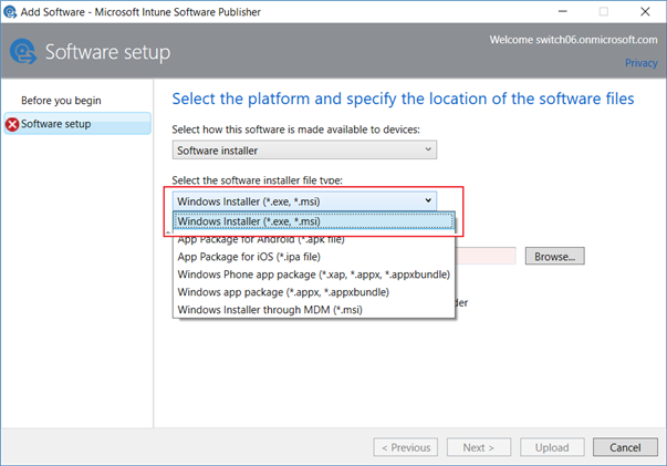 Select platform and location for PC client software files