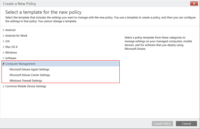 Select template for new Windows PC policy