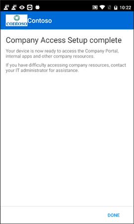 Company access setup complete screen