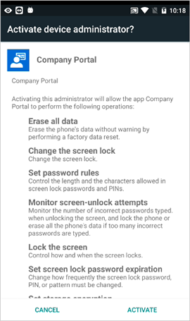 Activate device administrator screen