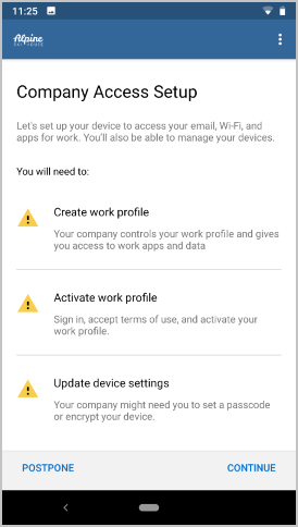 Enroll Android work profile in Intune Company Portal