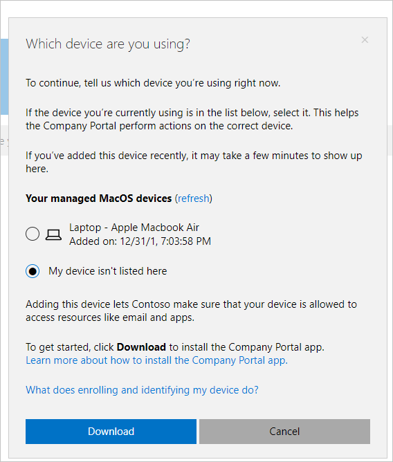 Enroll your macOS device in Intune with Company Portal