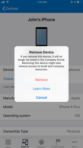 "Screenshot of the Company Portal app Devices screen, showing options after user has clicked Remove Device button. Shows red highlighted ""Remove"" button, and blue highlighted ""Learn More"" button and ""Cancel"" button."