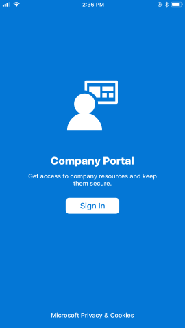 """Company Portal sign in screen, with """"Sign in"""" button on bottom."""