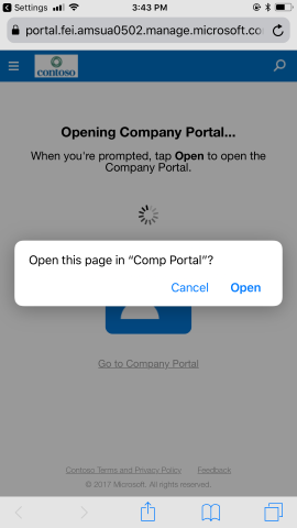 System prompt to open company portal.