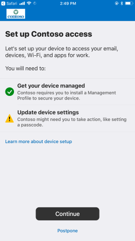 Device management successful; now need to update settings.
