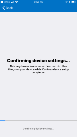 Confirming device settings.