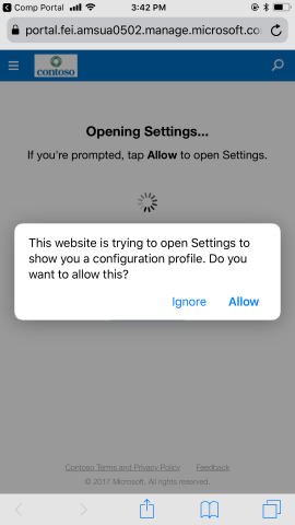 System prompt to ask for Settings app to be opened.