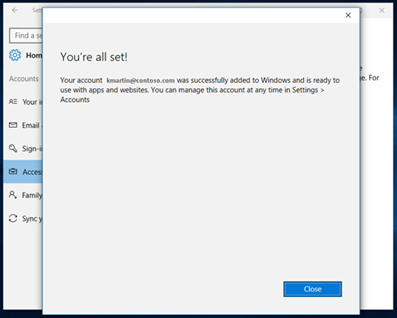 """Select close on the """"You're all set!"""" screen"""