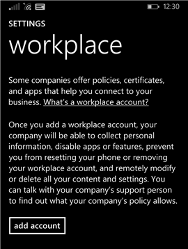 Workplace settings screen