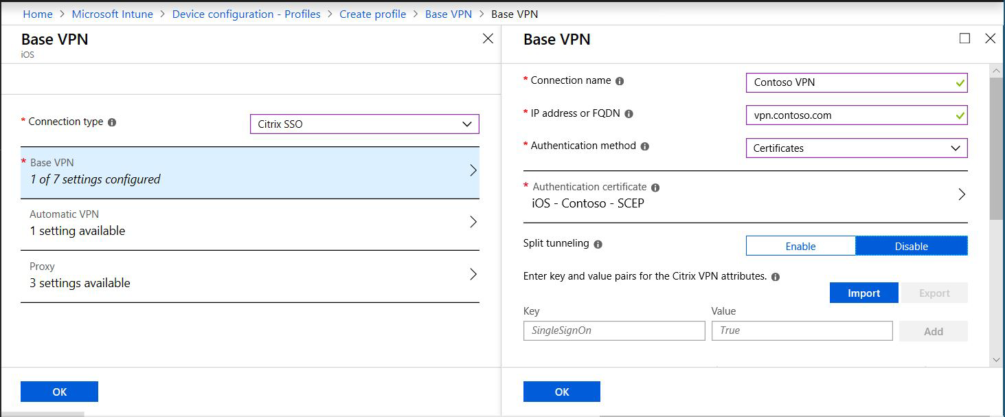Set up per-app VPN for iOS devices in Microsoft Intune