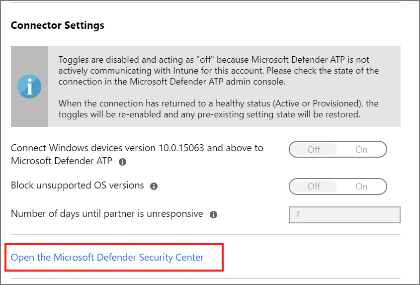 Select to open the Microsoft Defender Security Center