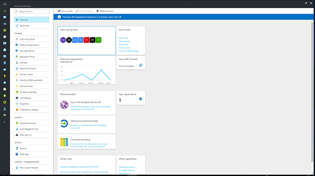Screenshot of the Azure portal