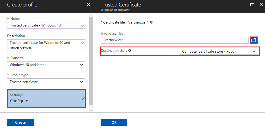 Use private and public key certificates in Microsoft Intune