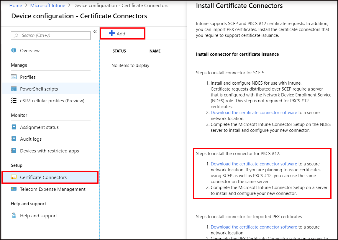Use private and public key certificates in Microsoft Intune - Azure