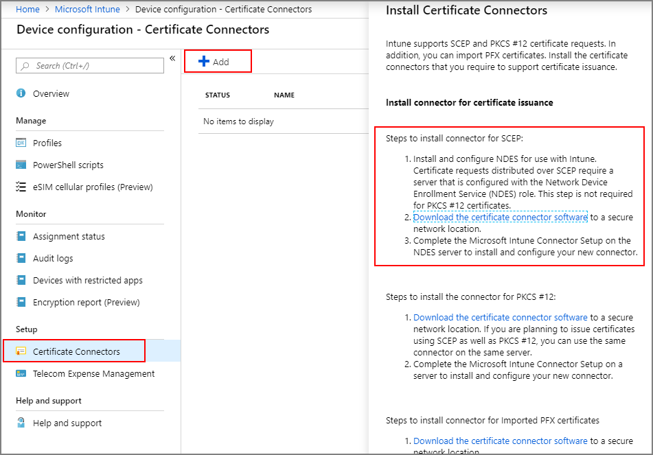 Configure infrastructure to support SCEP certificate