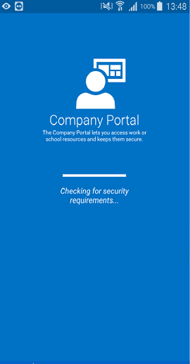 The Company Portal app for Android sign-in screen that shows a partially filled loading bar with the phrase 'Checking for security requirements' underneath it.