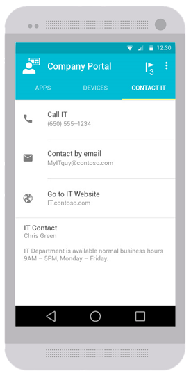 The Company Portal app for Android displaying an updated version of the Contact IT tab. The tab shows available contact information for IT, including phone number, email address, IT website, and IT contact information.