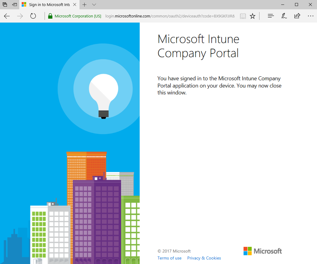 a confirmation page that states that the user has now signed into the company portal app