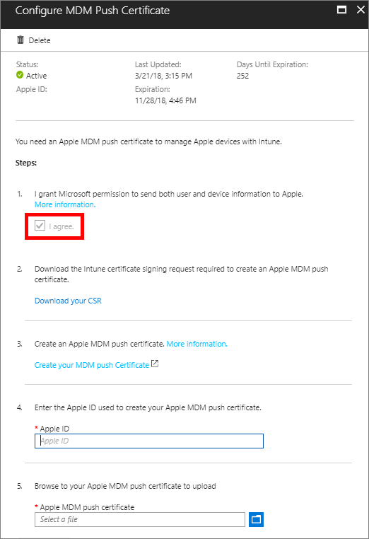 Get an Apple MDM Push certificate for Intune | Microsoft Docs
