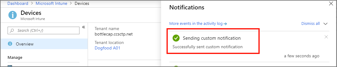 Confirmation of a sent notification