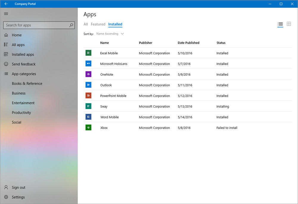 Screenshot of the Intune Company Portal app for Windows showing the installed apps in details view.