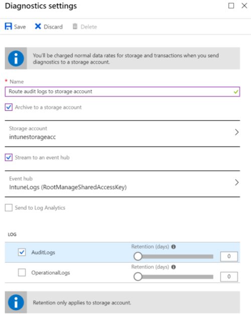 Sample image that sends Intune audit logs to an Azure storage account