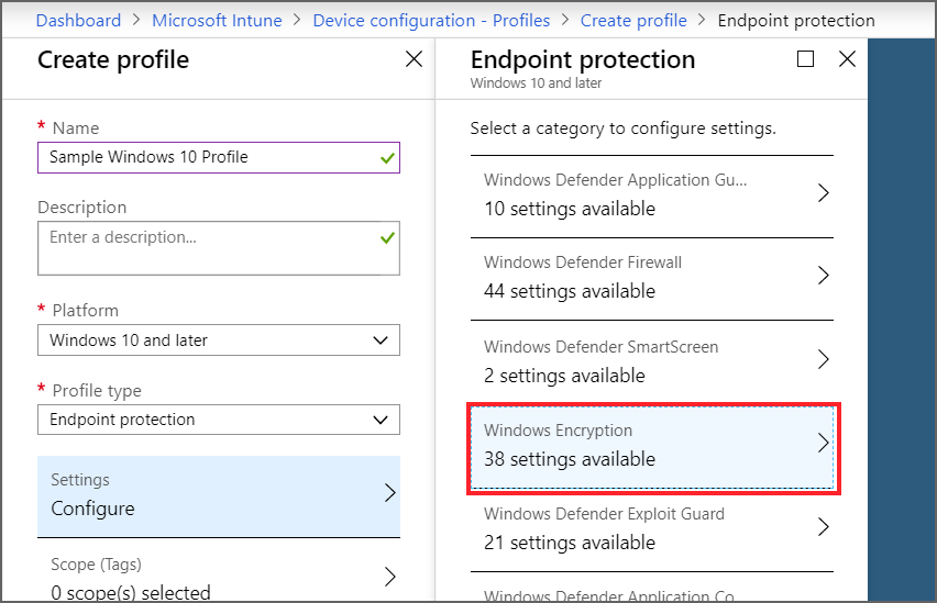 Encrypt devices in Microsoft Intune by using the platforms supported