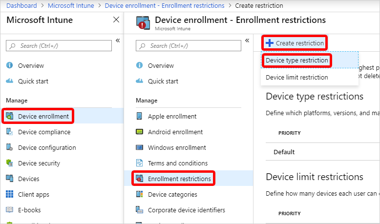 Screen cap for creating a device type restriction