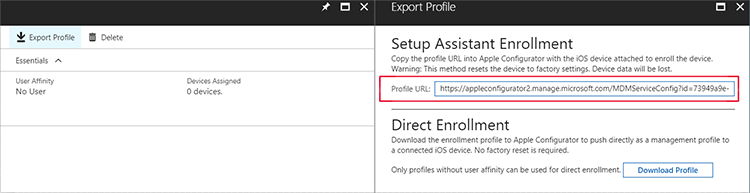 Enroll ios devices apple configurator setup assistant microsoft screenshot export profile for setup assistant enrollment with profile url highlighted malvernweather Images