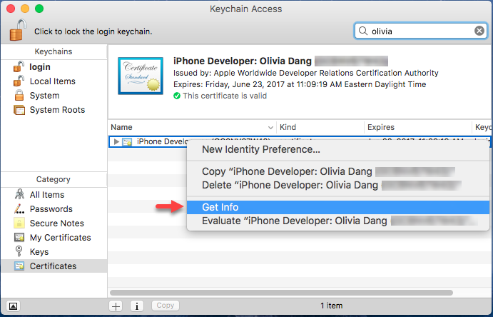 how to create keychain certificate in windows