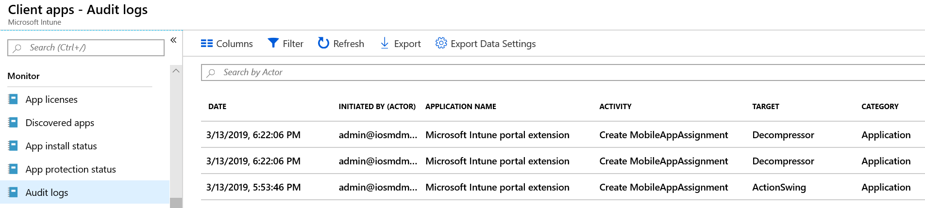 Audit changes and events in Microsoft Intune - Azure | Microsoft Docs