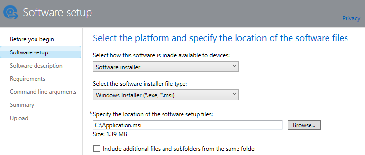 Software setup page of the publisher