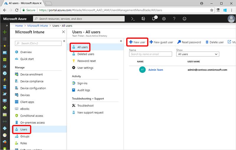 Quickstart - Create a user in Intune | Microsoft Docs