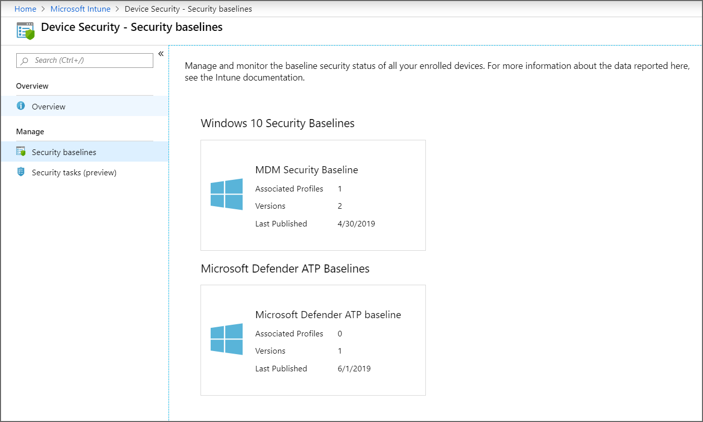 Use security baselines in Microsoft Intune - Azure