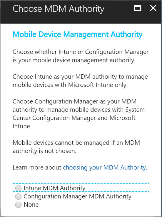 Set the mobile device management authority - Microsoft