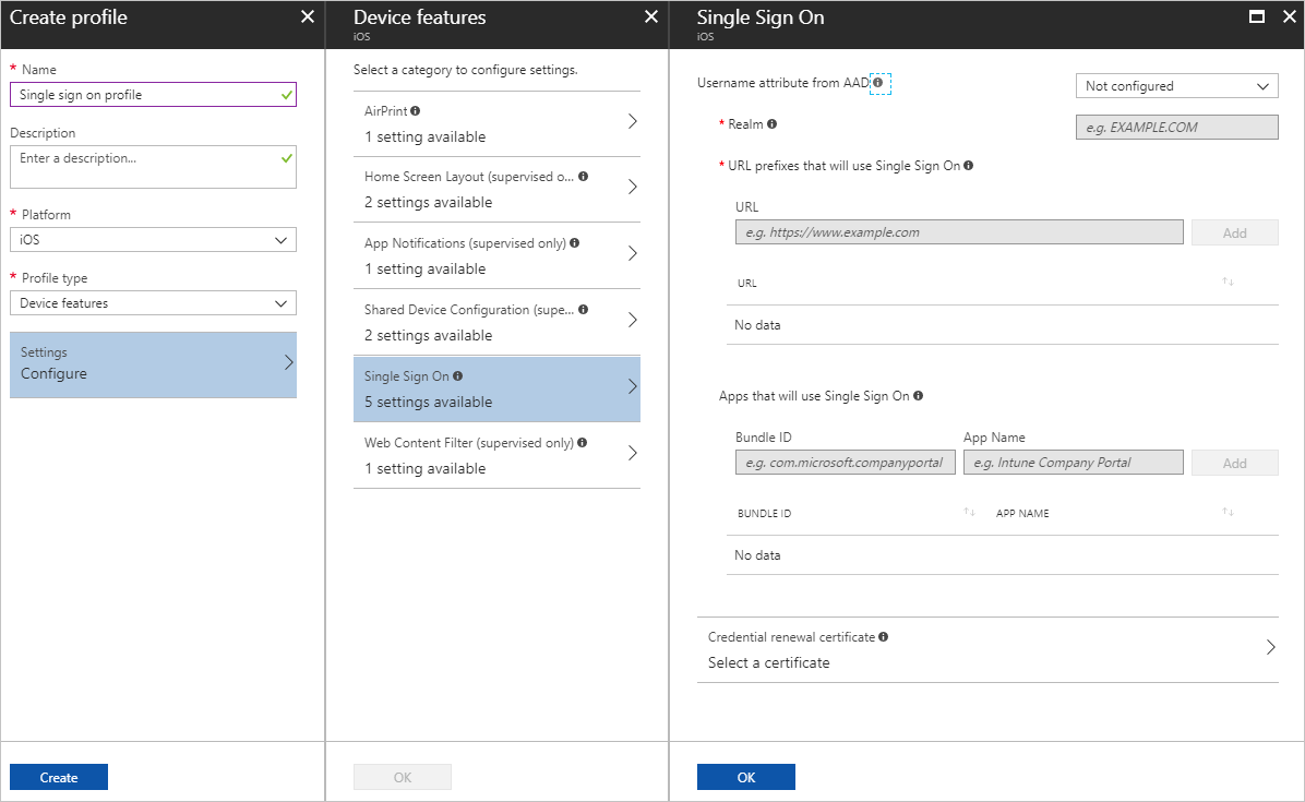 iOS device feature settings in Microsoft Intune - Azure