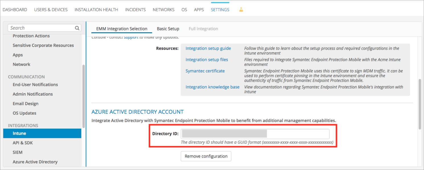 Set up Symantec integration with Microsoft Intune