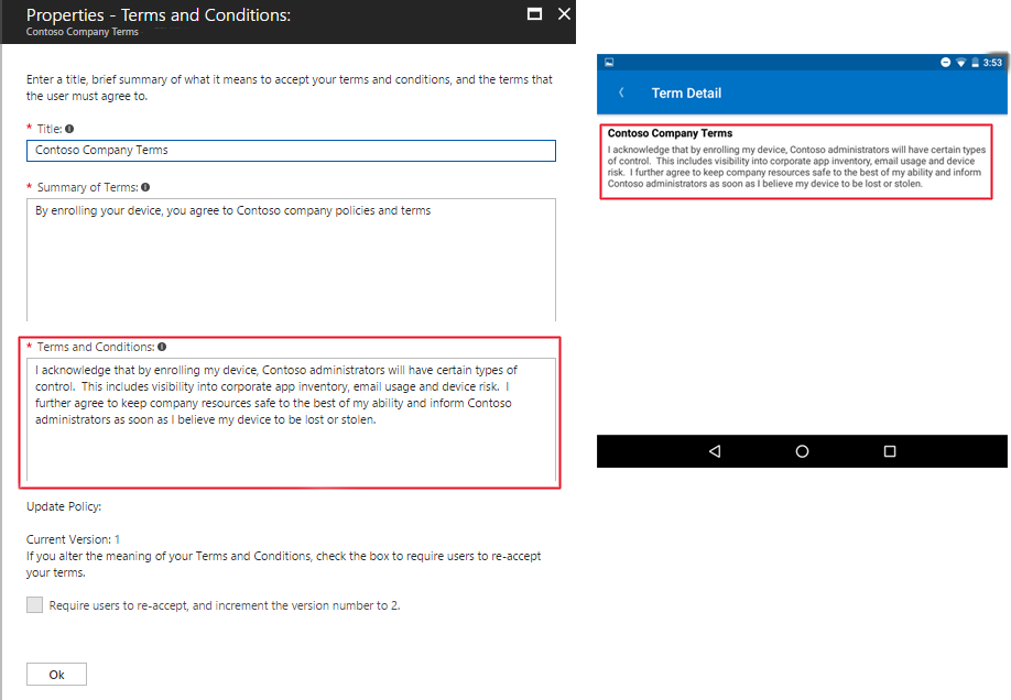Set terms and conditions in Microsoft Intune Microsoft Docs