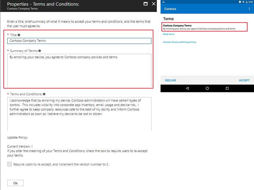 set terms and conditions in microsoft intune microsoft docs rh docs microsoft com Admin Portal iyeTek Administration Portal