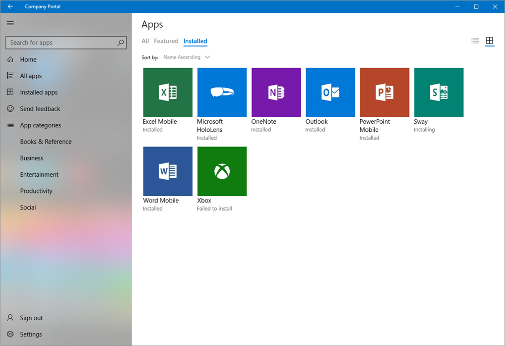 Screenshot of the Intune Company Portal app for Windows showing the installed apps in tile view.