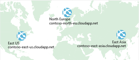 An illustration showing a world map with three Azure data centers highlighted. Each data center is labelled with a unique domain name.