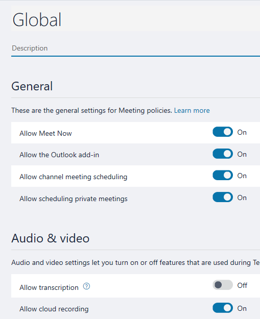 Create meeting policies settings