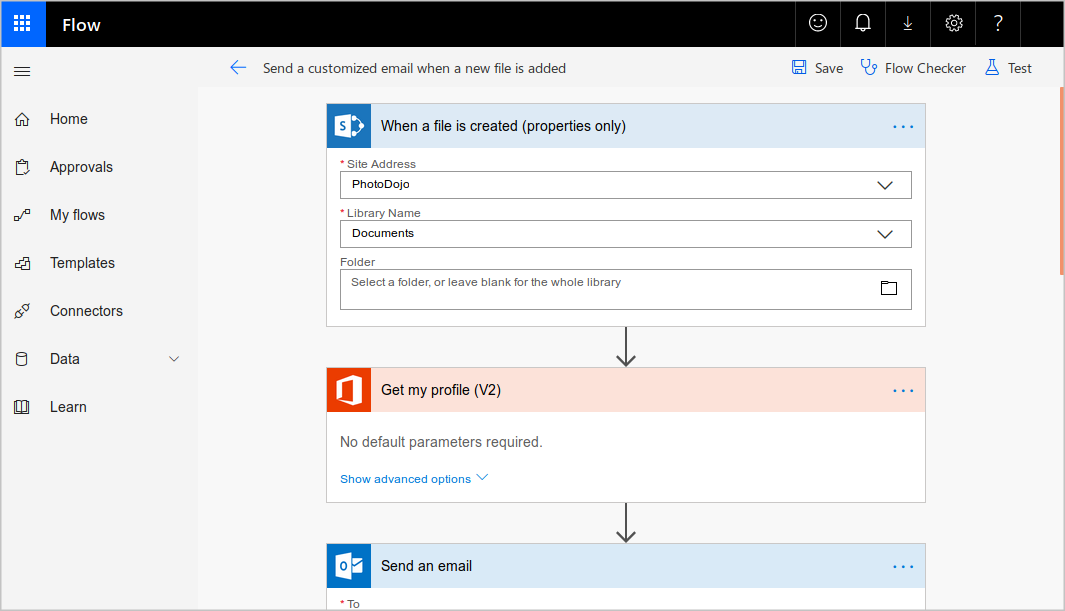 Microsoft Flow designer showing a workflow with a file trigger, an Office action to get a user's profile and an Outlook action to send an email.
